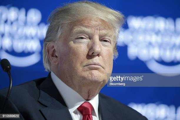 US President Donald Trump looks on during a special address on the closing day of the World Economic Forum in Davos Switzerland on Friday Jan 26 2018...