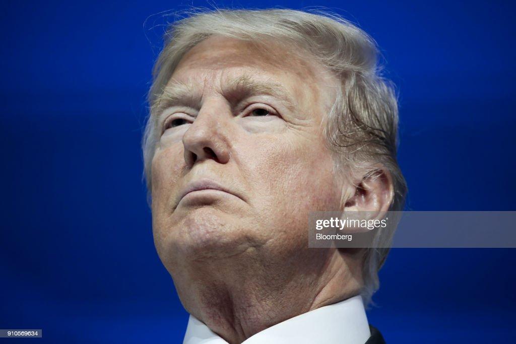 President Trump Addresses The World Economic Forum (WEF) : News Photo