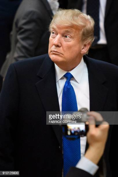 US President Donald Trump looks on upon his arrival at the Economic Forum annual meeting on January 25 2018 in Davos eastern Switzerland The world's...