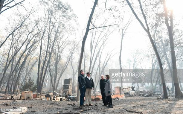 President Donald Trump looks on with Paradise Mayor Jody Jones Governor of California Jerry Brown and Lieutenant Governor of California Gavin Newsom...