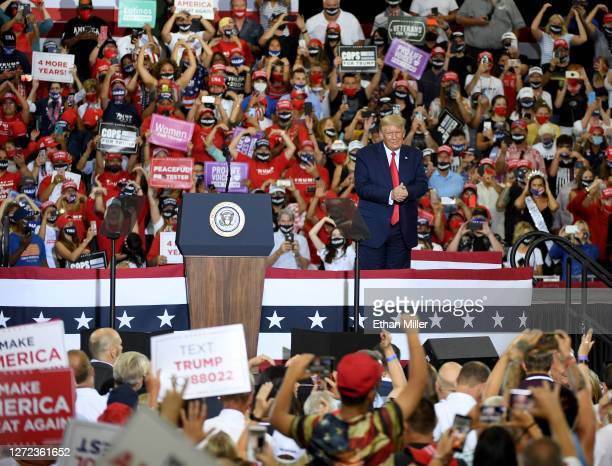 President Donald Trump looks out to the crowd after speaking at a campaign event at Xtreme Manufacturing on September 13, 2020 in Henderson, Nevada....