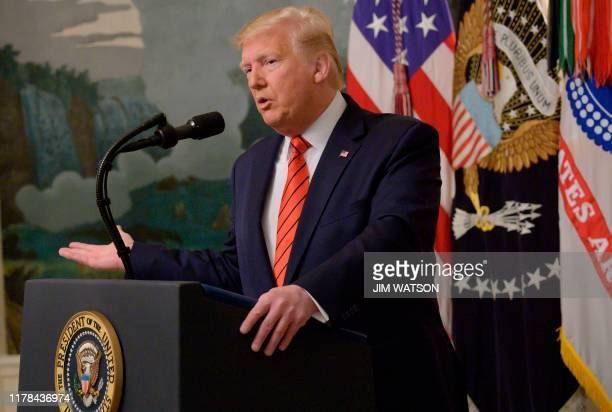 US President Donald Trump makes a major announcement October 27 2019 the White House in Washington DC Trump confirmed the death of Islamic State...