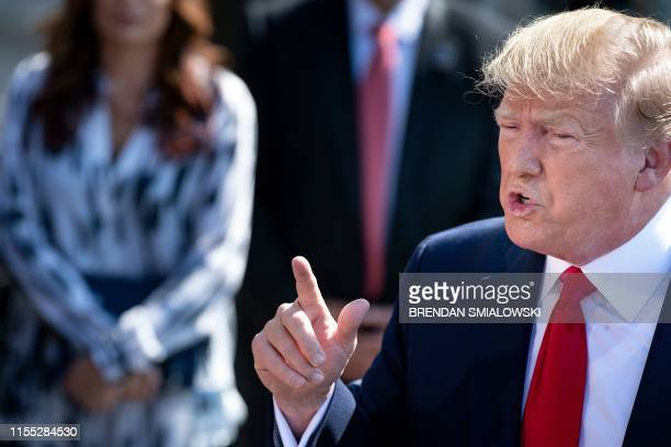 US President Donald Trump makes a point during a press conference with US Labor Secretary Alexander Acosta early July 12 2019 at the White House in...