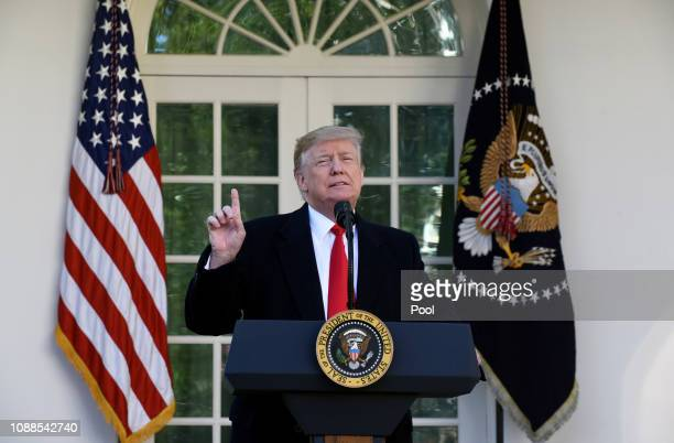 President Donald Trump makes a statement announcing that a deal has been reached to reopen the government through Feb 15 during an event in the Rose...