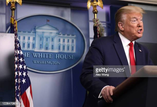 S President Donald Trump makes a statement in the briefing room at the White House on May 22 2020 in Washington DC President Trump announced news CDC...