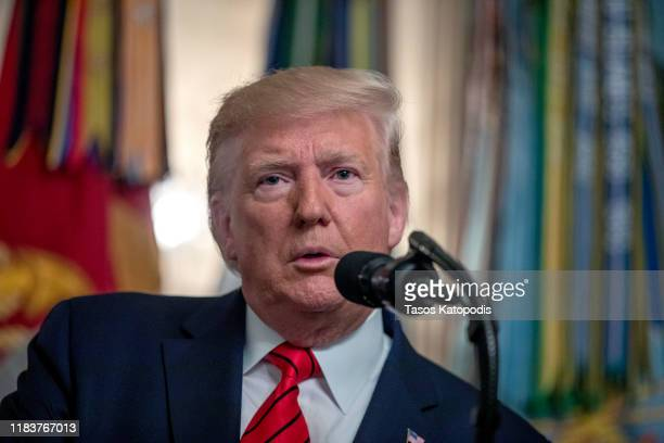 S President Donald Trump makes a statement in the Diplomatic Reception Room of the White House October 27 2019 in Washington DC President Trump...