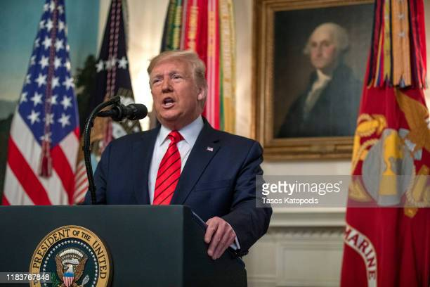 President Donald Trump makes a statement in the Diplomatic Reception Room of the White House October 27, 2019 in Washington, DC. President Trump...