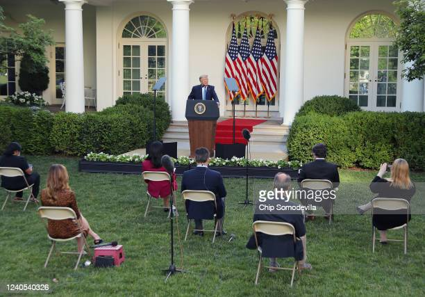 S President Donald Trump makes a statement in the Rose Garden about the ongoing unrest across the nation on June 1 2020 in Washington DC Minneapolis...