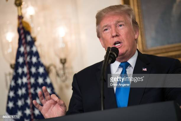 S President Donald Trump makes a statement on the administration's strategy for dealing with Iran in the Diplomatic Reception Room in the White House...