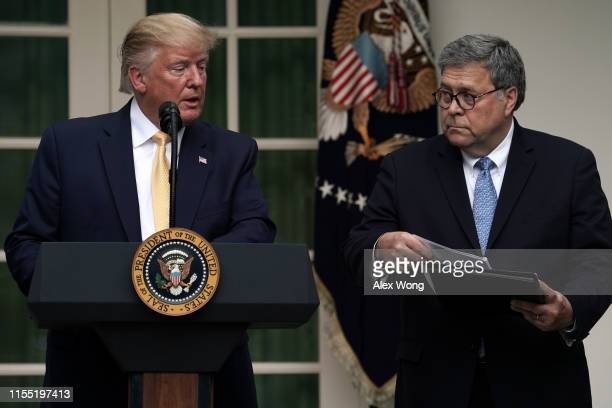S President Donald Trump makes a statement on the census with Attorney General William Barr in the Rose Garden of the White House on July 11 2019 in...