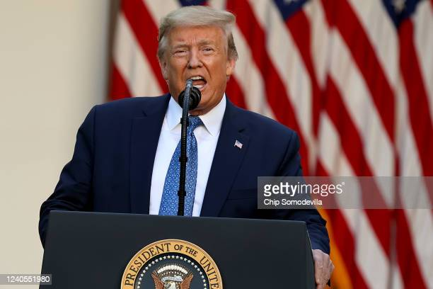"""President Donald Trump makes a statement to the press in the Rose Garden about restoring """"law and order"""" in the wake of protests at the White House..."""