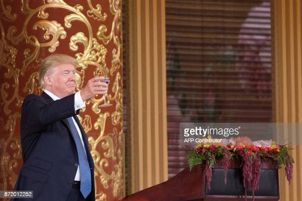 US President Donald Trump makes a toast during a state dinner hosted by China's President Xi Jinping in the Great Hall of the People in Beijing on...
