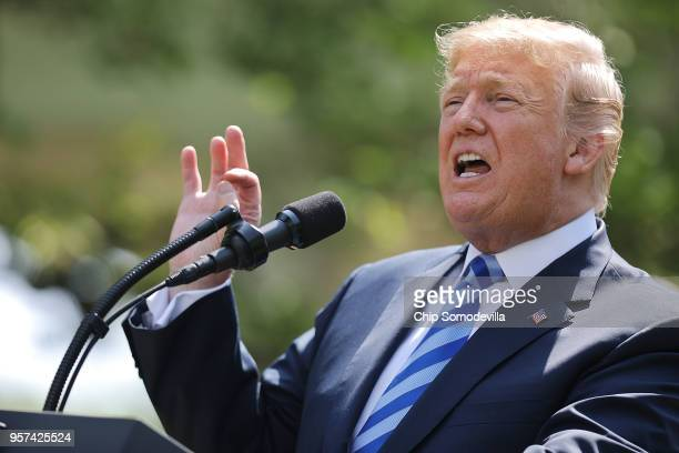 S President Donald Trump makes an announcement about drug prices in the Rose Garden at the White House May 11 2018 in Washington DC Trump announced a...