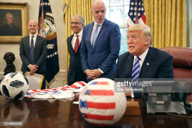 S President Donald Trump makes brief remarks to reporters during a meeting with US Soccer President Carlos Cordeiro and FIFA President Gianni...