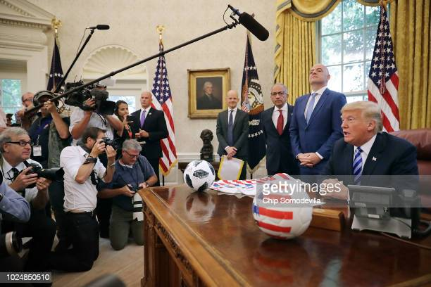 US President Donald Trump makes brief remarks to reporters during a meeting with US Soccer President Carlos Cordeiro and FIFA President Gianni...
