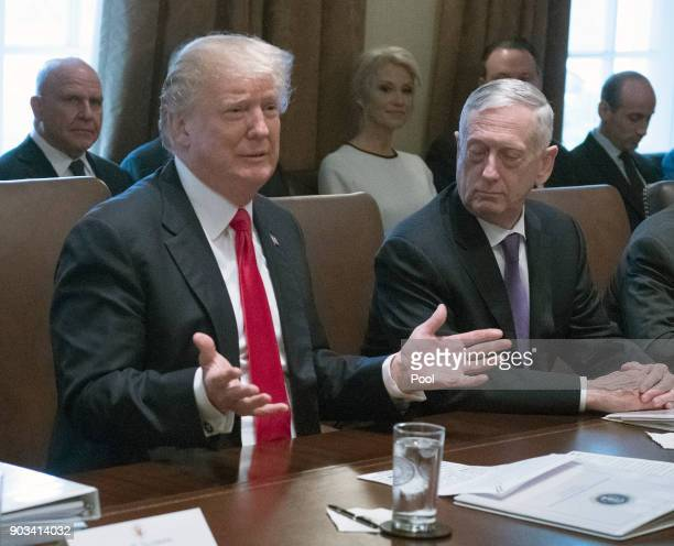 President Donald Trump makes opening remarks as he holds a Cabinet meeting in the Cabinet Room of the White House on January 10 2018 in Washington DC...