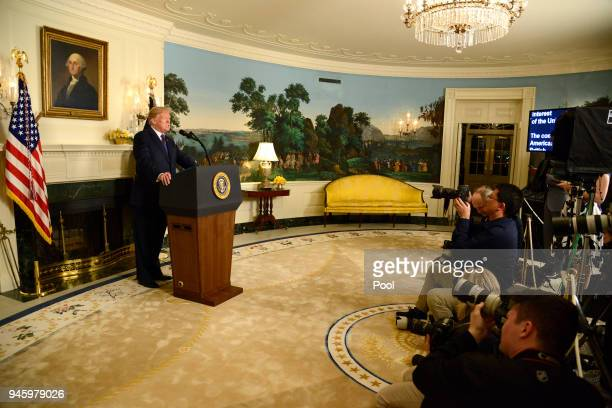 S President Donald Trump makes remarks as he speaks to the nation announcing military action against Syria for the recent apparent gas attack on its...