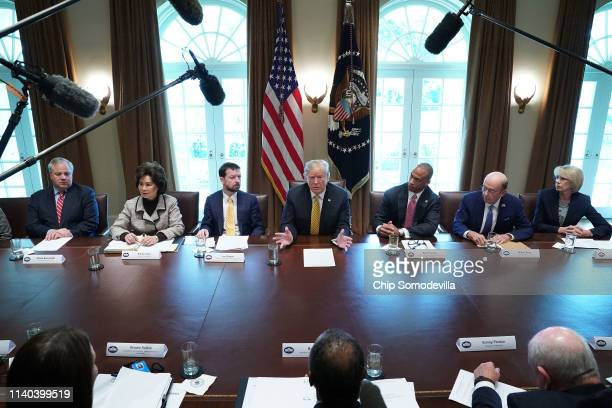 S President Donald Trump makes remarks during the inaugural meeting of the White House Opportunity and Revitalization Council with acting Interior...