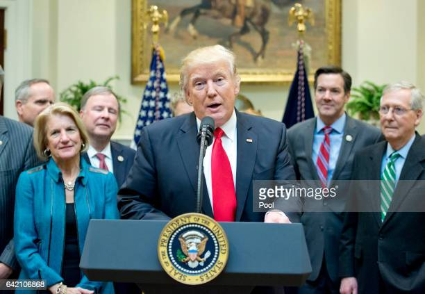 S President Donald Trump makes remarks prior to signing HJ Res 38 disapproving the rule submitted by the US Department of the Interior known as the...