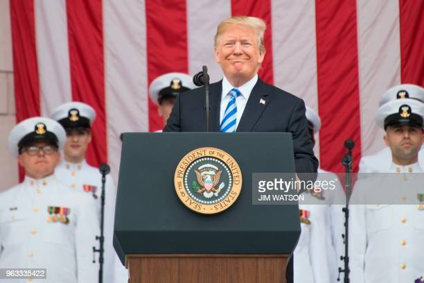 US President Donald Trump marks Memorial Day with a speech at Arlington National Cemetery in Arlington Virginia on May 28 2018