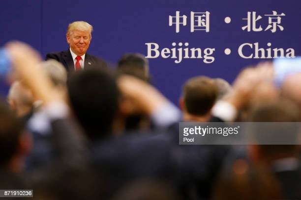 S President Donald Trump meets business leaders at the Great Hall of the People on November 9 2017 in Beijing China Trump is on a 10day trip to Asia
