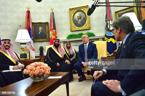 President Donald Trump meets Crown Prince Mohammed bin Salman of the Kingdom of Saudi Arabia in the Oval Office at the White House on March 20 2018...