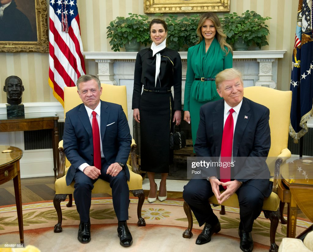President Trump And First Lady Welcome Jordan's King Abdullah And Queen Rania To White House : News Photo