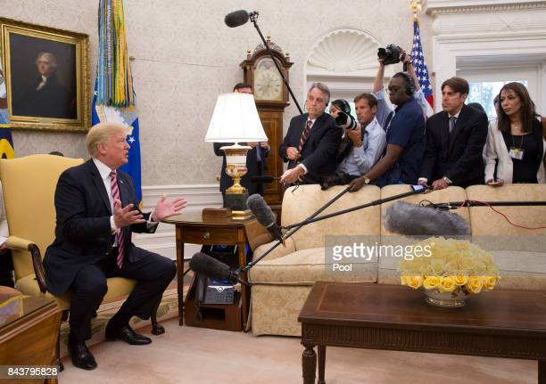 US President Donald Trump meets with Amir Sabah alAhmed alJaber alSabah of Kuwait in the Oval Office of The White House September 7 2017 in...