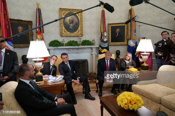 S President Donald Trump meets with Brazilian President Jair Bolsonaro at the White House March 19 2019 in Washington DC President Trump is hosting...