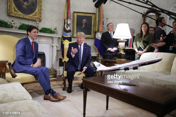 S President Donald Trump meets with Canadian Prime Minister Justin Trudeau in the Oval Office of the White House June 20 2019 in Washington DC The...
