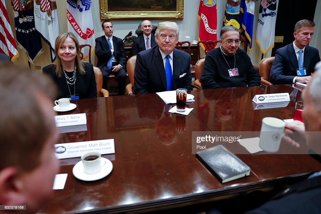 President Trump Meets With Automobile Industry Leaders : News Photo
