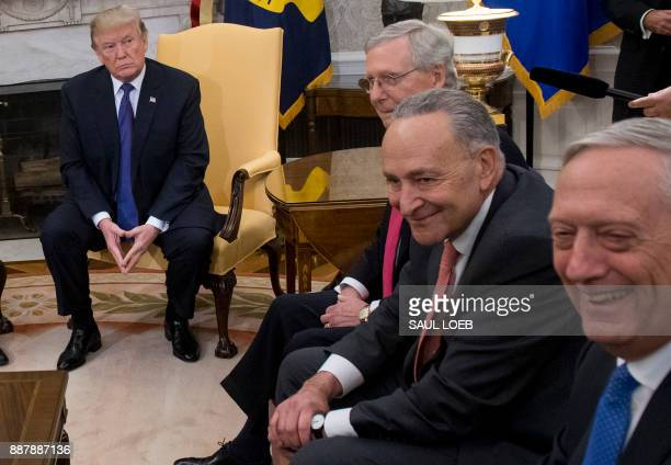 US President Donald Trump meets with Congressional leadership including Senate Majority Leader Mitch McConnell Republican of Kentucky and Senate...