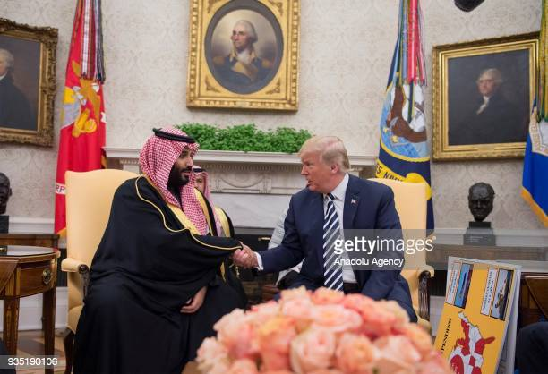 US President Donald Trump meets with Crown Prince Mohammed bin Salman Al Saud of Saudi Arabia in the Oval Office at the White House on March 20 2018...