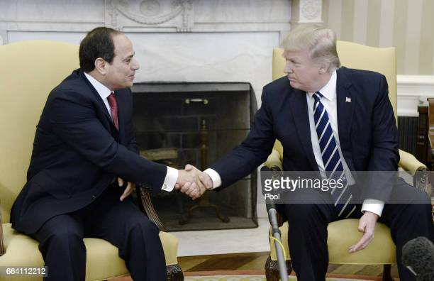 US President Donald Trump meets with Egyptian President Abdel Fattah Al Sisi in the Oval Office of the White House on April 3 2017 in Washington DC...