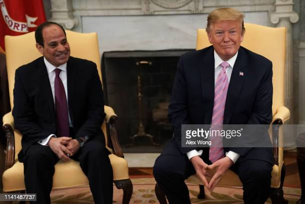 S President Donald Trump meets with Egyptian President AbdelFattah elSisi in the Oval Office of the White House April 9 2019 in Washington DC...