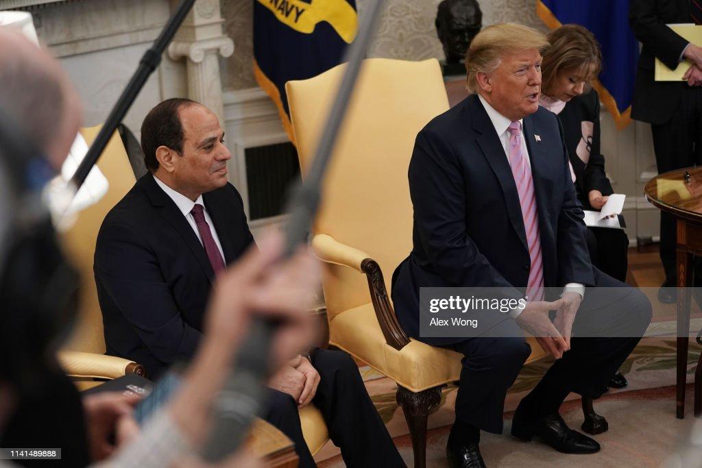 President Donald Trump Welcomes Egypt's President Abdel Fattah el-Sisi To The White House : Nieuwsfoto's