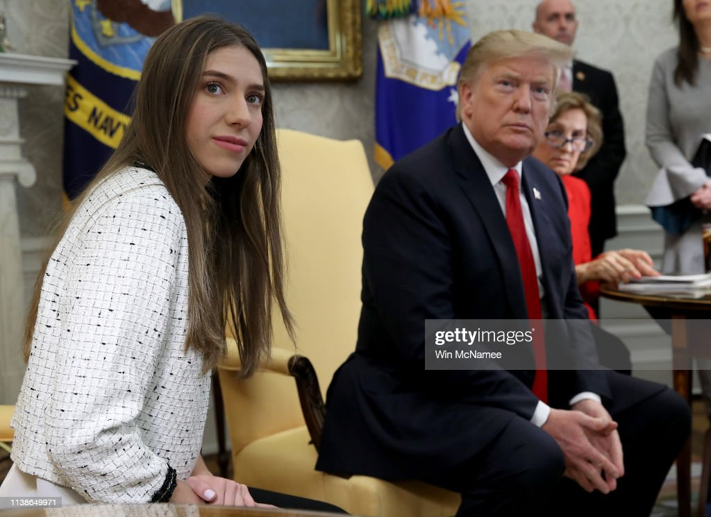 President Trump Meets With Wife Of Venezuelan Opposition Leader Guaido : News Photo