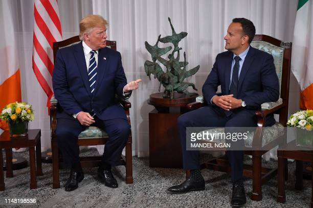 US President Donald Trump meets with Irish Prime Minsiter Leo Varadkar at Shannon Airport in Shannon County Clare Ireland on June 5 2019 after...