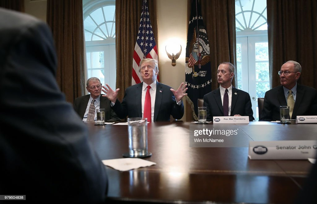 President Trump Meets With Congressional Leaders On Immigration In The Oval Office