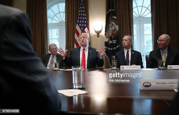 S President Donald Trump meets with members of the US Congress on immigration in the Cabinet Room of the White House June 20 2018 in Washington DC...