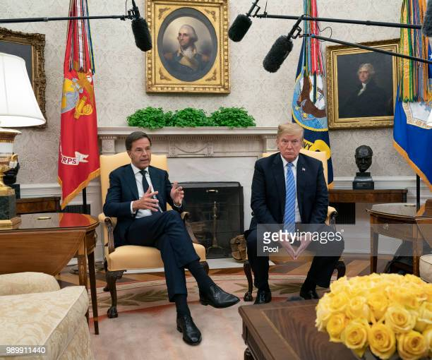 S President Donald Trump meets with Netherlands Prime Minster Mark Rutte in the OVal Office of The White House on July 2 2018 in Washington DC
