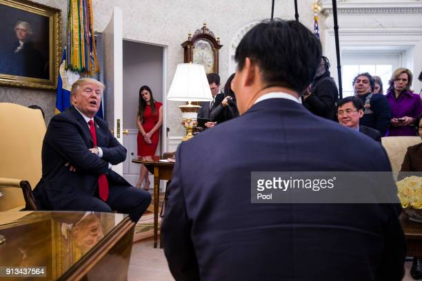 S President Donald Trump meets with North Korean defectors in the Oval Office of the White House on February 2 2018 in Washington DC Trump's meeting...