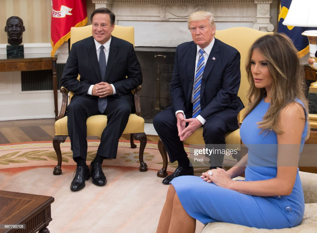 President Donald Trump meets with Panama's President Juan Carlos Varela in the Oval Office, with first lady Melania Trump, at the White House on June 19, 2017 in Washington, DC. According to the White House, the two presidents will talk about how to curb 'transnational organized crime, illegal migration, and illicit substances' and the continued political and economic instability in Venezuela.