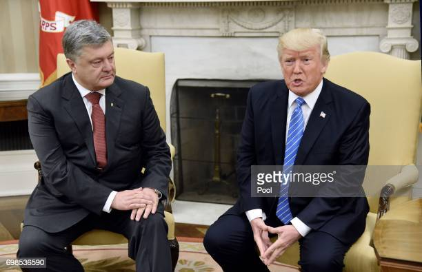 President Donald Trump meets with President Petro Poroshenko of Ukraine in the Oval Office of the White House on June 20 2017 in Washington DC
