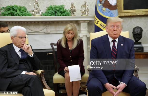 President Donald Trump meets with President Sergio Mattarella of Italy in the Oval Office at the White House October 16, 2019 in Washington, DC....