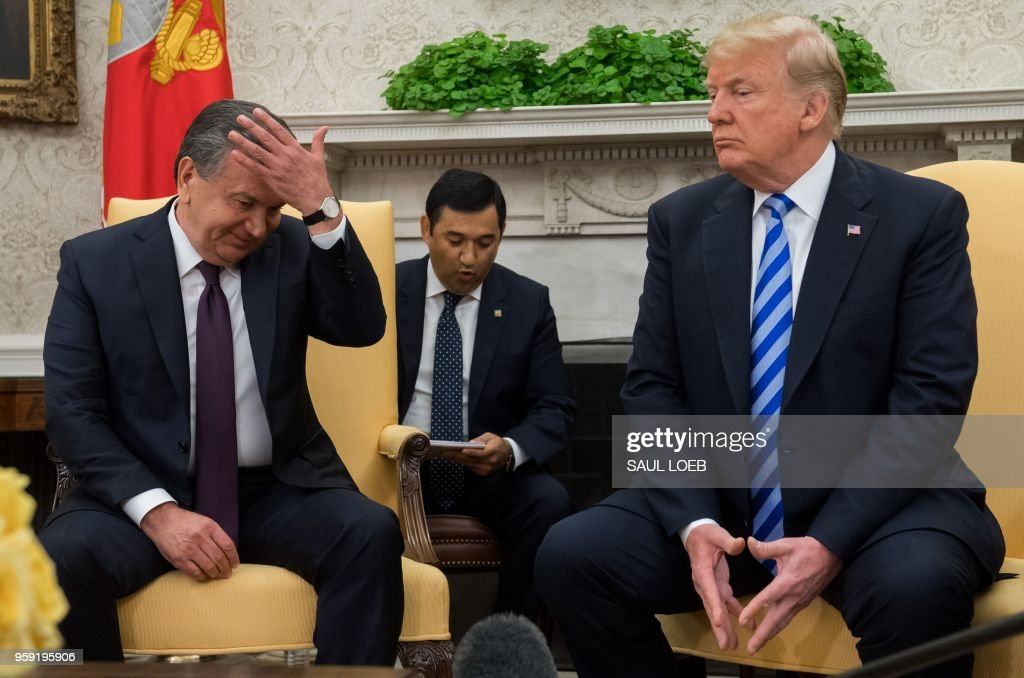 US President Donald Trump meets with President Shavkat Mirziyoyev of Uzbekistan in the Oval Office of the White House in Washington, DC, May 16, 2018.