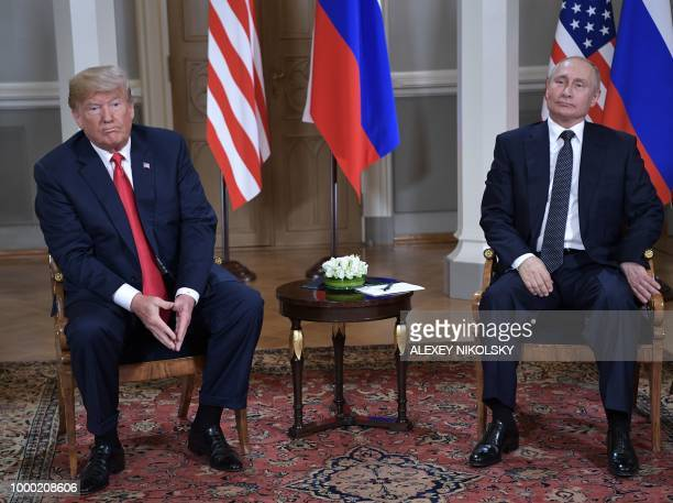 US President Donald Trump meets with Russia's President Vladimir Putin in Helsinki on July 16 2018