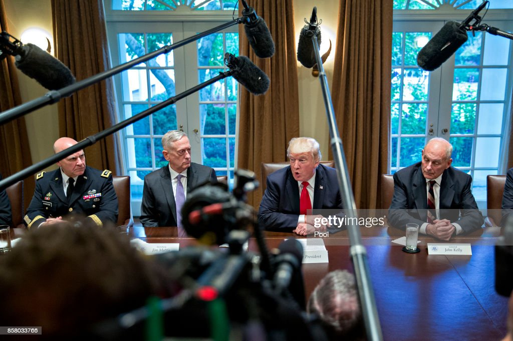 President Trump Participates In Briefing With Senior Military Leaders : News Photo
