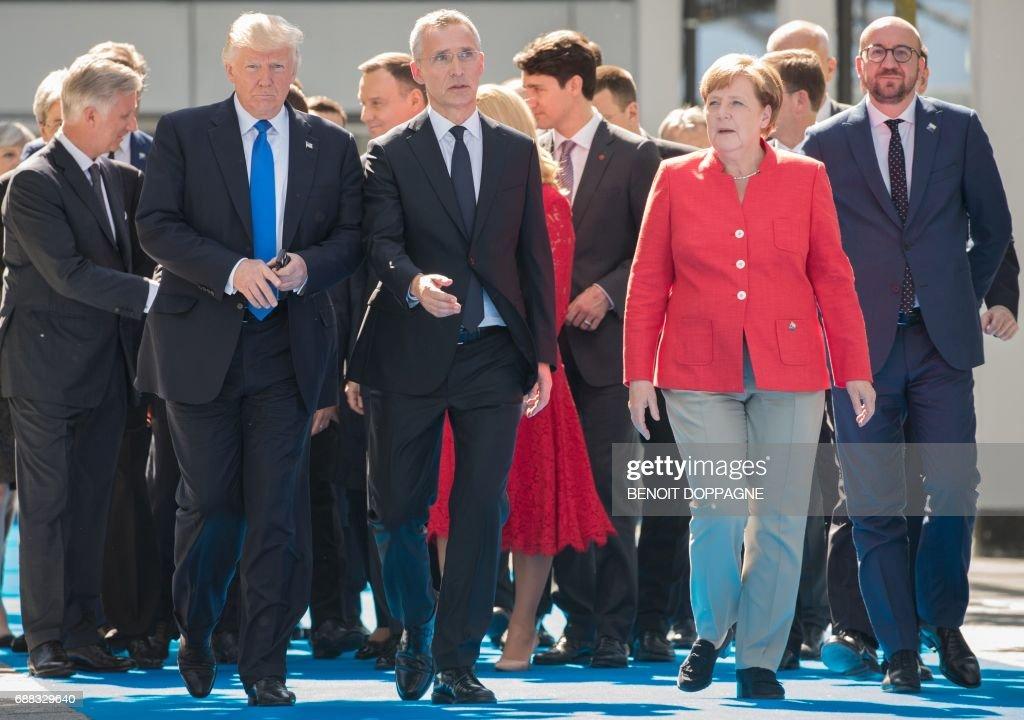 BELGIUM-NATO-POLITICS-DIPLOMACY-DEFENCE-MEETING : News Photo