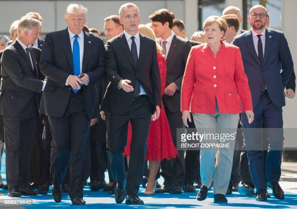 US President Donald Trump NATO Secretary General Jens Stoltenberg Chancellor of Germany Angela Merkel and Belgian Prime Minister Charles Michel...